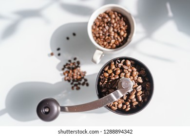 Coffee Beans in Mill and Mug
