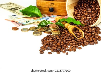 Coffee beans and money. Fair Trade. Sale of coffee. Commodity trade. Fresh coffee beans