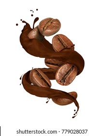 Coffee beans moves in chocolate splashes on white background