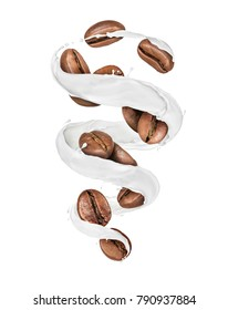 Coffee beans moves in a swirling splashes of milk on white background