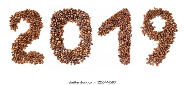 coffee beans numbers isolated on white background  - 2019 new year
