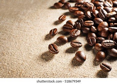 Coffee beans on the basis of goods close up