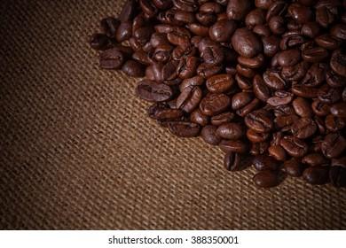 coffee beans on a burlap bag