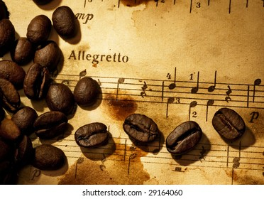 Coffee beans on a grungy musical background