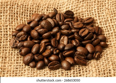 Coffee Beans On Jute Bag/ Coffee Beans