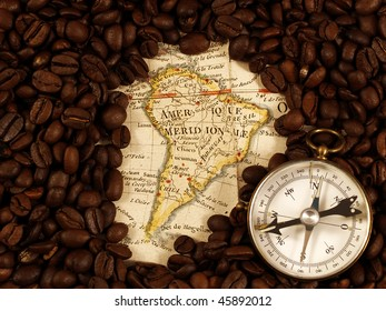Coffee beans on a map from XVIII century.