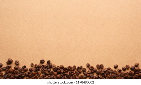 coffee beans on paper craft texture in vintage style for background