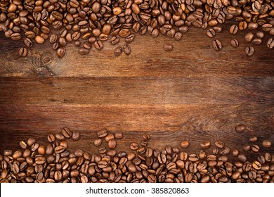coffee  beans on rustic oak background