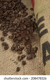 Coffee Beans On A Coffee Sack
