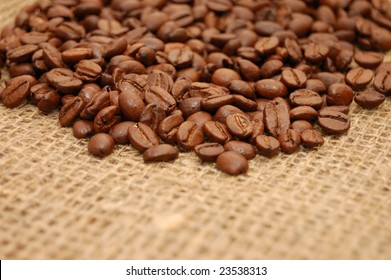 Coffee beans on the sacking