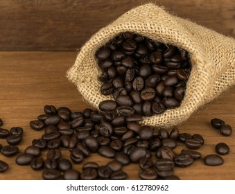 coffee beans on table wood background
