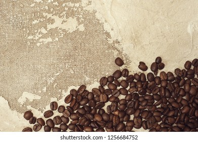 Coffee beans on top view background.