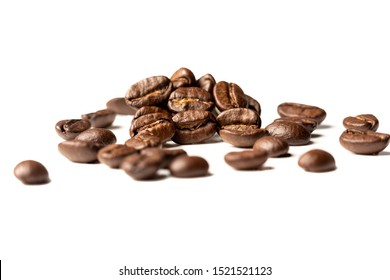 coffee beans on white backdrop brown fresh ground holiday beverage coffee break food supermarket deli caffeine pick me up roasted aroma smell drink cream clutch cooked beans natural