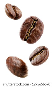 Coffee beans on a white background. toning. selective focus
