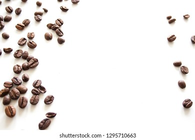 Coffee beans on white background. Frame of coffee with copy space for text.