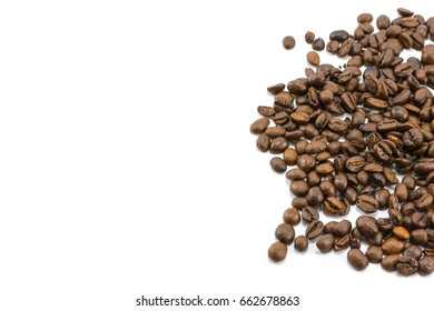 Coffee beans on white background for copy space