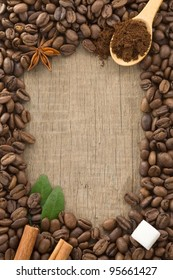 coffee beans on wood background texture