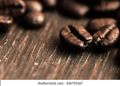 Coffee Beans On Wooden Planks