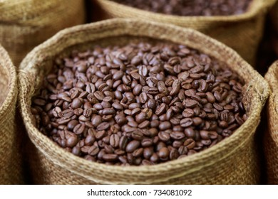Coffee Beans in an Opened Canvas Sack