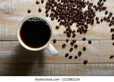 coffee with beans overhead view