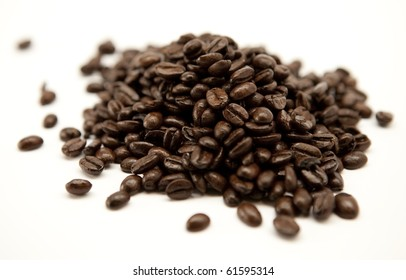Coffee beans pile isolated