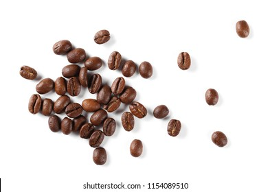 Coffee beans pile isolated on white background and texture, top view