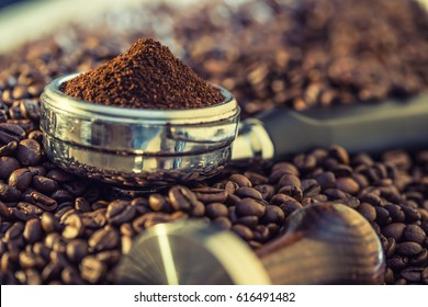 Coffee beans and portafilter.
