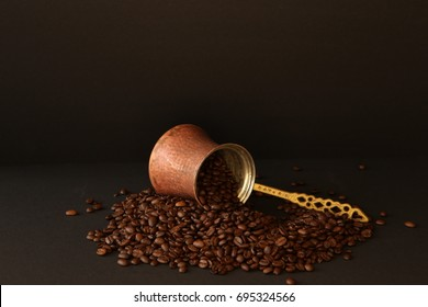 Coffee beans and coffee pot