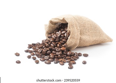 coffee beans pouring out from the burlap sack