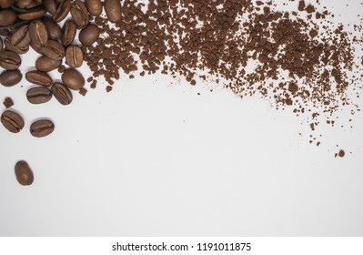 Coffee beans and Coffee powder on white background