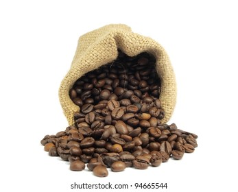 Coffee beans roasted in sack on a white background