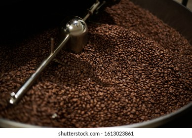 Coffee beans roasted well in a coffee roasting machine. Close-up.