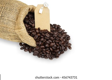Coffee Beans in a sack bag isolated on white background. This has clipping path.