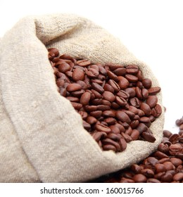 coffee beans and sack isolated