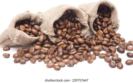 coffee beans in a sack isolated on white background