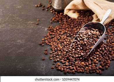 Coffee Beans in a Sack on dark table
