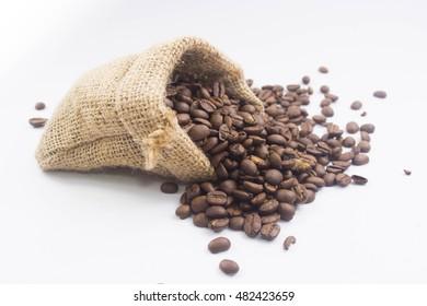 Coffee beans sack on white background