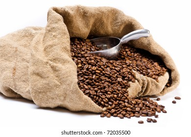 Coffee beans sack with scattered beans and metal scoop isolated on white background