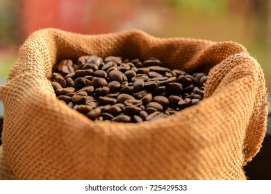 coffee beans in sack,blur background