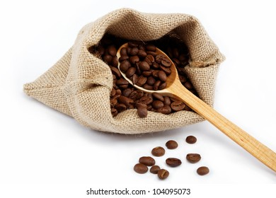 Coffee beans in a sacking bag.