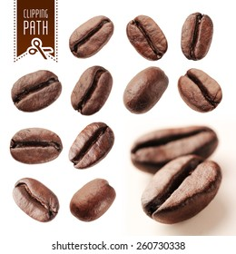 Coffee beans set with clipping path