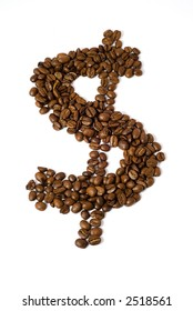 Coffee beans in the shape of a dollar sign isolated on white background with clipping path