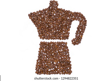 Coffee beans in the shape of a mocha pot isolated on white background.