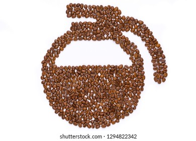 Coffee beans in the shape of a coffee pot isolated on white background.