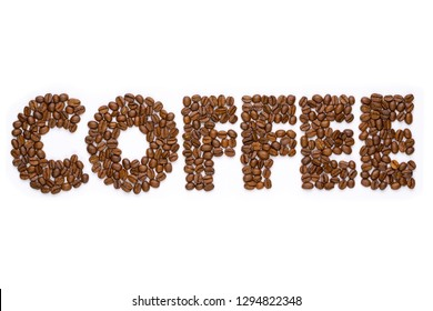 Coffee beans in the shape of the word coffee isolated on white background.