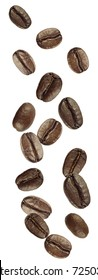 coffee beans shot as if falling from above