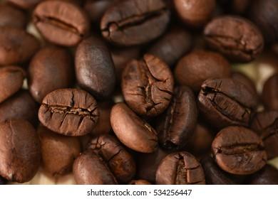 coffee beans in a small wicker basket