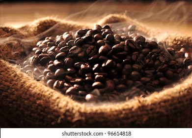 Coffee beans with smoke in a bag.