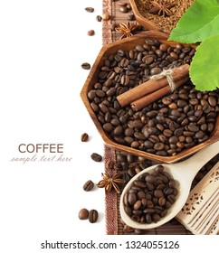 coffee beans with spice and leaves isolated on white background with sample text