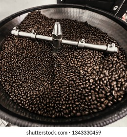 Coffee Beans spinning in Coffee roaster, Coffee Roaster Cooling of Beans, vintage toned, copy space